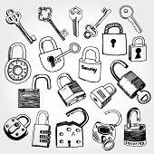 Doodled set of Different Locks and Keys