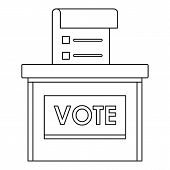 Vote Election Box Icon. Outline Vote Election Box Vector Icon For Web Design Isolated On White Backg poster