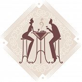 The young couple is having a dinner. Vector art. Decorative background.