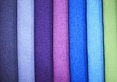 Textile Samples. Textile Samples For Curtains. Blue Purple, Green Tone Curtain Samples Hanging. Choi poster