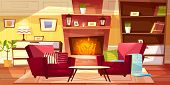 Living Room Interior Vector Illustration Of Cozy Modern Or Retro Apartments And Furniture. Cartoon B poster