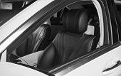 Modern Luxury Car Inside. Interior Of Prestige Modern Car. Comfortable Leather Seats. Perforated Lea poster