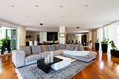 Modern living room with large leather sofa. Nobody inside poster