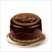 Birthday party chocolate cake - vector