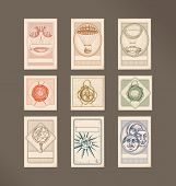 Postage stamps- vintage illustrations- flying machines, wax seals, Armillary Sphere,compass rose, circle faces