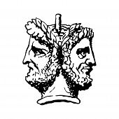 Two-faced Janus. Two Male Heads In Profile, Connected By The Nape. Stylization Of The Ancient Roman  poster