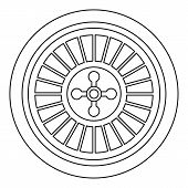 Casino Wheel Icon. Outline Casino Wheel Vector Icon For Web Design Isolated On White Background poster