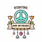 International Day Of Peace. Vector Illustration Of Peace Sign And Flowers. poster