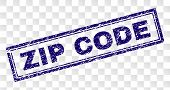 Zip Code Stamp Seal Print With Scratched Style And Double Framed Rectangle Shape. Stamp Is Placed On poster