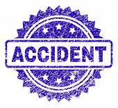 Accident Stamp Watermark With Scratched Style. Blue Vector Rubber Seal Print Of Accident Title With  poster