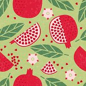 Seamless Pattern. Pomegranate Juicy Fruits, Leaves And Flowers On Shabby Background. poster