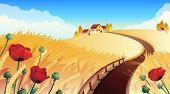 Vector illustrations - Landscape with wheat and poppy