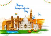Illustration Of Famous Indian Monument And Landmark For Happy Independence Day Of India For Happy In poster