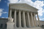 picture of supreme court  - statue outside front of Supreme Court Washington DC - JPG