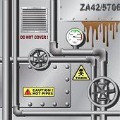 Fondo industrial con tubos y reloj de presión