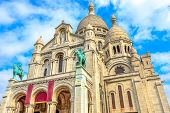 Bottom View Of Facade Of Sacred Heart Of Paris Church In France. Basilique Du Sacre-coeur De Montmar poster