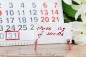 May 31st. Image Of May 31 Calendar On Floral Background With Flowers, Empty Space For Text. World Da poster