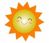 Cute Cartoon Sun Summer Icon Design, Smiling Sun Yellow Symbol, Sun Weather Icon, Sun Logo Sign Symb poster