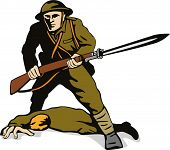 stock photo of comrades  - Vector art of a Soldier with bayonet standing over dead comrade - JPG