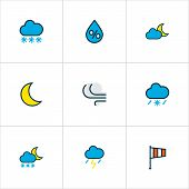 Climate Icons Colored Line Set With Lunar, Freeze, Twilight And Other Tornado Elements. Isolated Vec poster