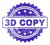 3d Copy Stamp Watermark With Scratched Style. Blue Vector Rubber Seal Print Of 3d Copy Text With Scr poster