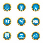 Paris Icons Set. Flat Set Of 9 Paris Vector Icons For Web Isolated On White Background poster