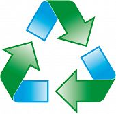 image of reprocess  - universal recycling symbol - JPG