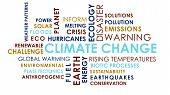 Climate Change Related Animated Text Word Cloud On White Background. poster