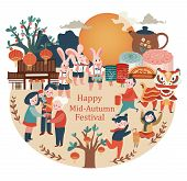 Mid-autumn Festival Celebration Elements With Bunny, Full Moon, Moon Cake, Chinese Lantern, Family R poster