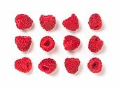 View From Above Of Ripe Red Raspberry On White Background. Organic Raspberries Creative Layout Patte poster
