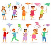 Kids Kite Vector Child Character Boy Or Girl Playing And Childly Kiteflying Activity Illustration Se poster