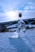 Crystal Glass High Heels On Blue Snowy Golf Course