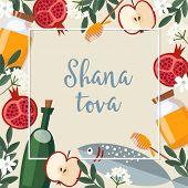 Shana Tova Greeting Card. Jewish New Year Rosh Hashana Invitation With Bottle Wine, Fish, Honey, App poster