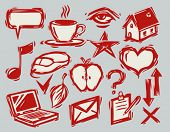 set of hand-drawn life icons