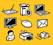 pc hardware and software icons set