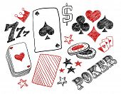 Hand-drawn poker designs. Vector illustration.