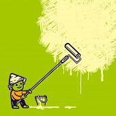 Hand-drawn worker covering wall. Vector illustration.