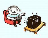 Watching TV. Vector illustration.