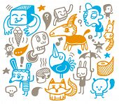 Funny creatures collection. Vector illustration.