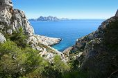 Riou island view from the calanques