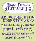 Vector hand drawn alphabet for designer 3. Change easily the colors as you wish.