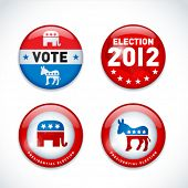 Set of US presidential election buttons in 2012