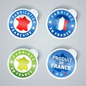Set of Made in France stickers. Vector EPS10.
