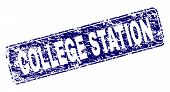 College Station Stamp Seal Print With Distress Texture. Seal Shape Is A Rounded Rectangle With Frame poster