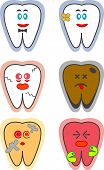 Six designs of a tooth. Two are happy and healthy. The rest are either cracked, stained, decayed, or in pain.