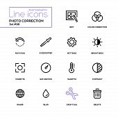Photo Correction - Modern Line Design Icons Set, Pictograms. Edit, Color Correction, Rotation, Eyedr poster