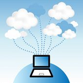Cloud computing concept. Laptop computer communicating with resources located in the â??cloudâ?.