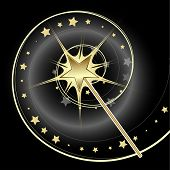 Magical golden star wand casting a spell.
