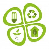 Green eco friendly design elements - energy saving light bulb, recycle symbol, green seedling, green