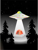 stock photo of unexplained  - flying saucer abducting some campers in the middle of the night - JPG